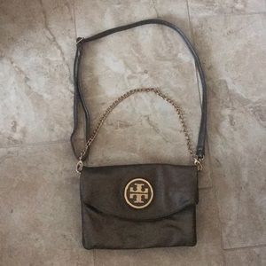 Tory Burch satchel metallic brown and gold